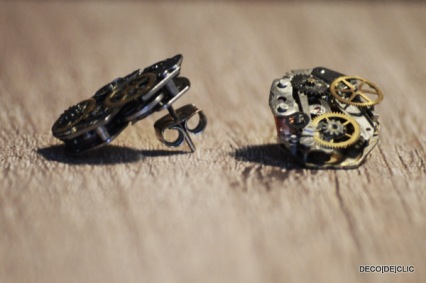 Confectionnez des boucles d'oreille design au look industriel à partir de mécanisme de montre