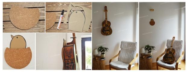 Guitare en tant que décoration murale, pensez à la protéger avec du liège pour éviter qu'elle frotte contre le mur
