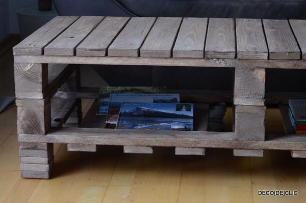 Une table basse de salon personnalisée à l'aide de palettes, de papiers de verre, de clous et de peinture