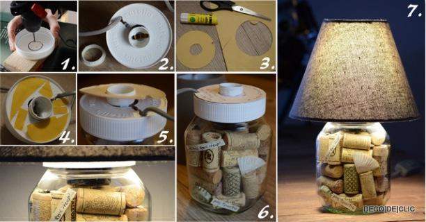 Idée cadeau originale: une lampe nutella et aux bouchons de liège