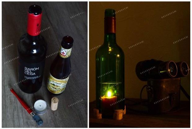 Créer un bougeoir avec une bouteille de vin