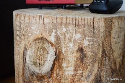 Idée déco pour créer une table de salon avec une souche de bois