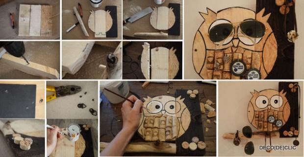 Un porte-bijou réalisé à partir de bois, palette et bouchons de liège