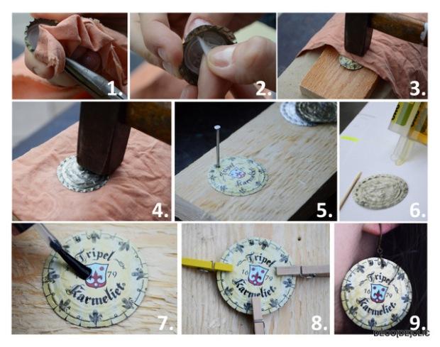 Un tutoriel pour créer vos propres boucles d'oreille à partir de capsules de bière