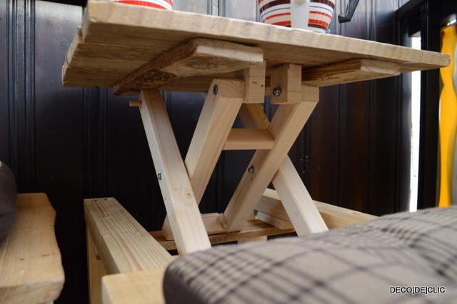 Un banc table partir de palettes et de tasseaux de for Table et banc pliant castorama